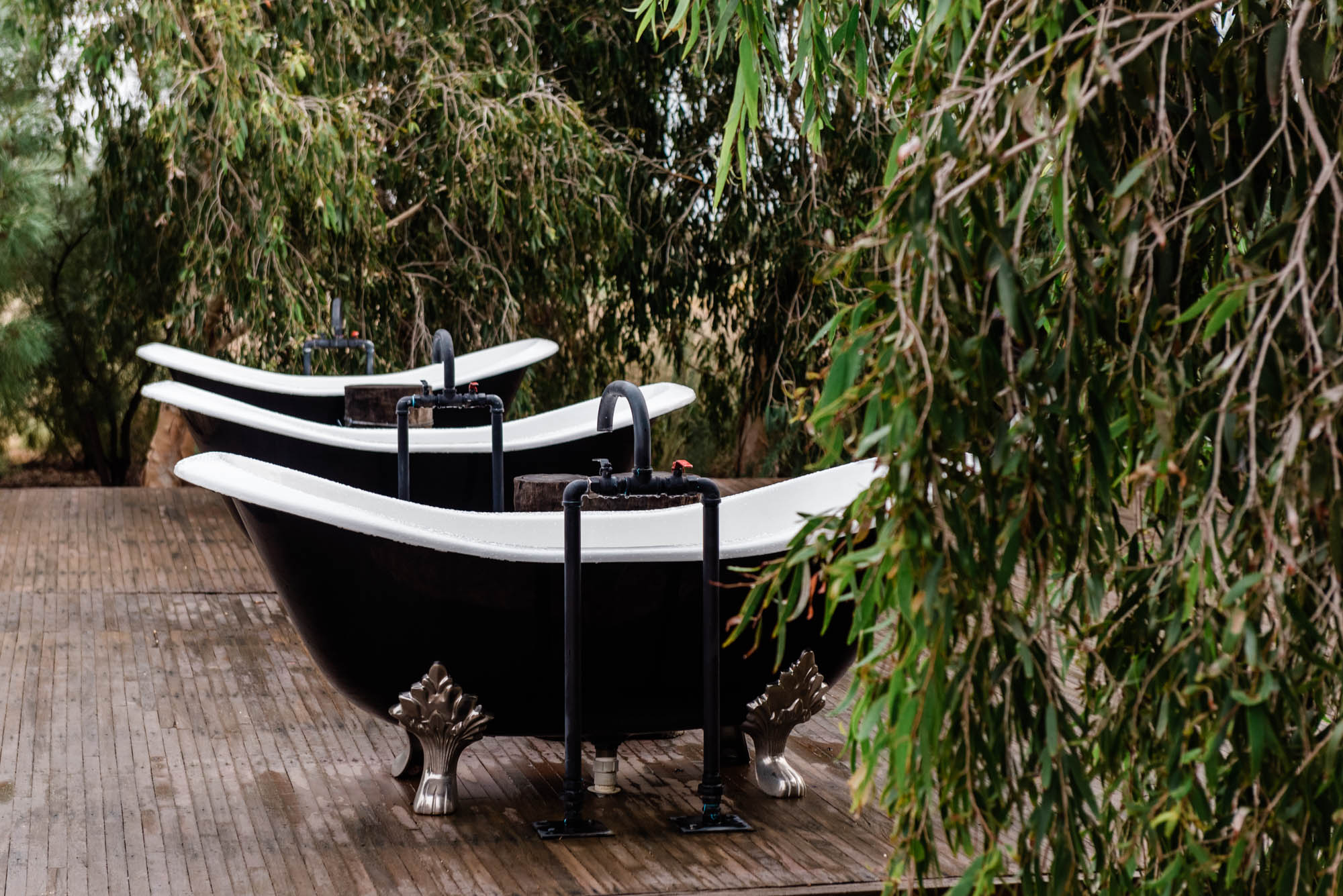 clawfoot bathtubs at Saltbush Retreat
