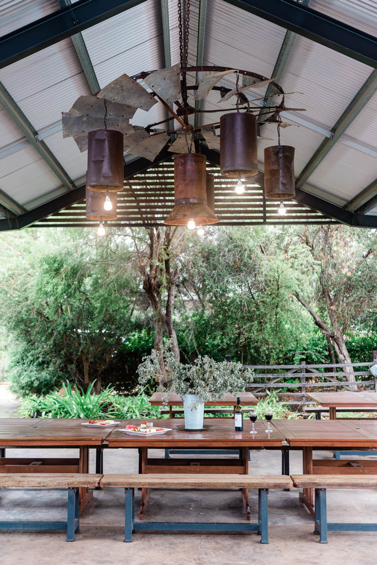 unique lighting at outdoor table