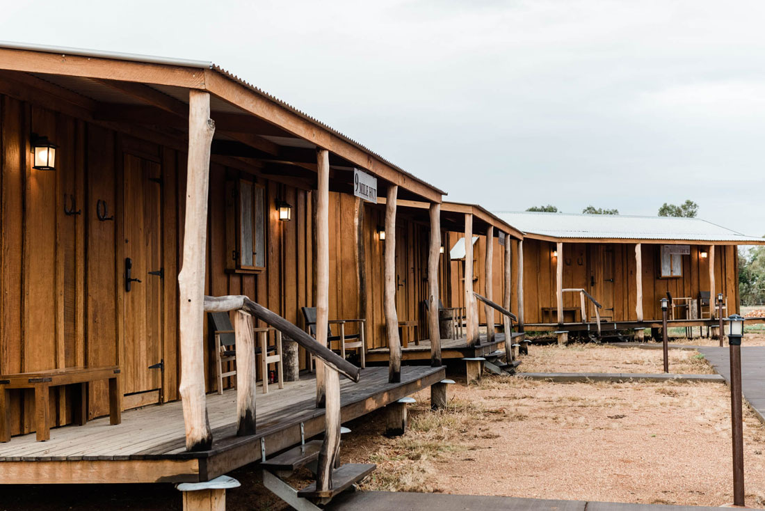 slab huts in a row at Saltbush