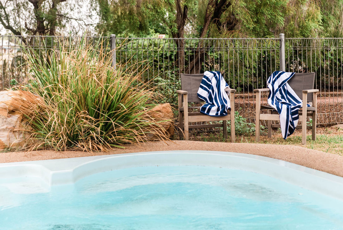 swimming pool area at saltbush retreat