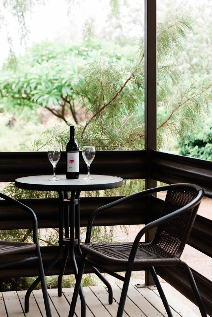 wine on the verandah