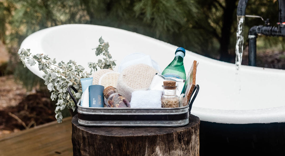 pamper pack for outdoor bath terrace